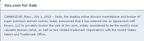 sex.com thumb Sex.com Available for Sale Via Sedo: One of Most Expensive domain Name