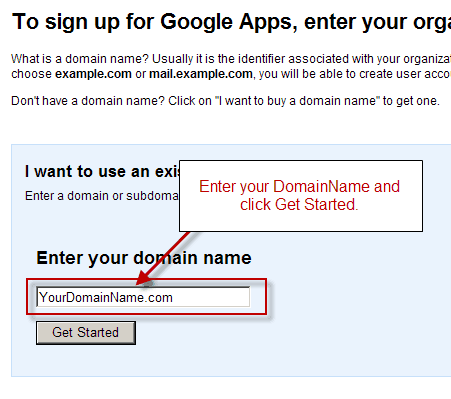 enter domain name How to Set Up Google Apps For Domain?