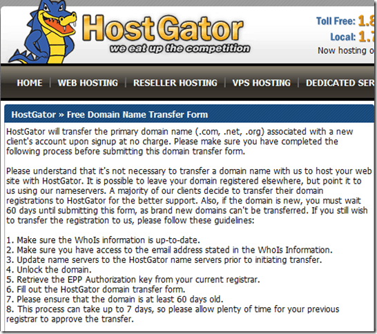 Hostgator Free Domain Renewal