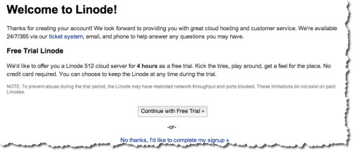 Linode free account