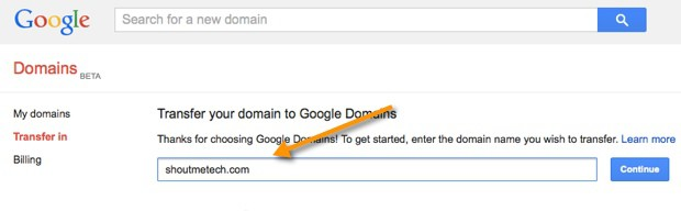 Google Domains transfer in