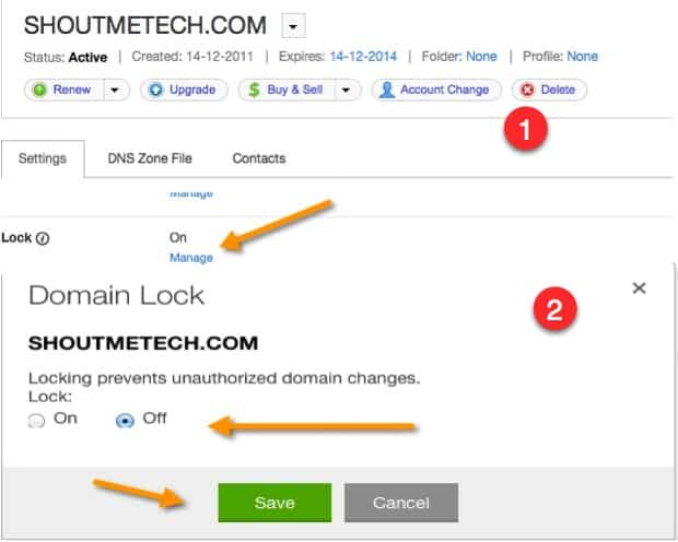 unlock domain on Godaddy