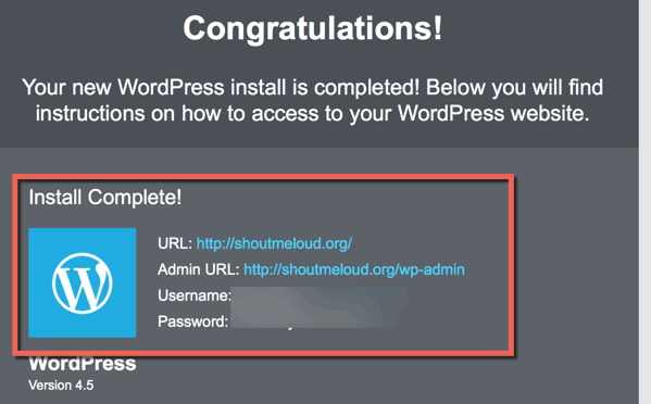 Congratulations WordPress Installed on HostGator