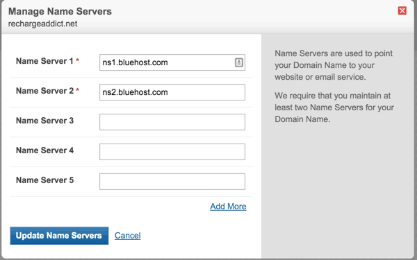 Nameserver to Bluehost