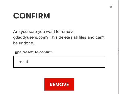 Confirm WordPress site removal