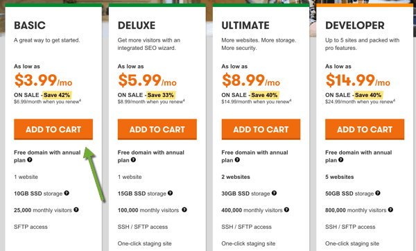 Select Godaddy hosting package