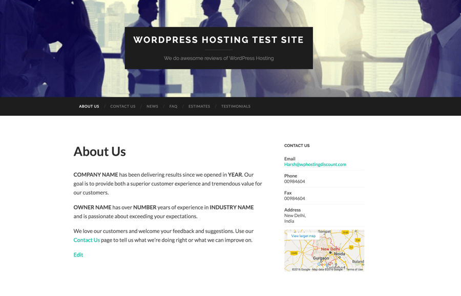 WordPress test site on Godaddy