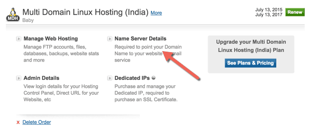 hostgator India Nameserver details